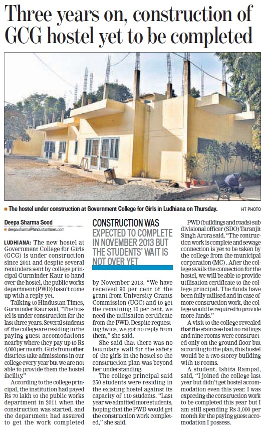 Three years on, construction of GCG Hostel yet to be completed (Government College for Women)