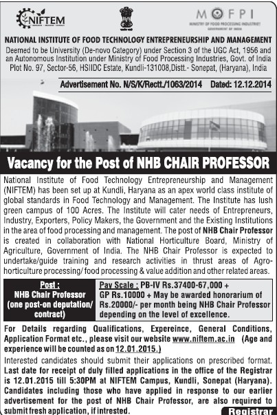 NHB Chair Professor (National Institute of Food Technology Entrepreneurship and Management (NIFTEM))