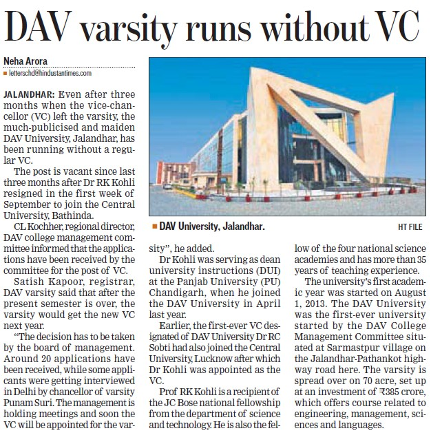 DAV Varsity runs without VC (DAV University)