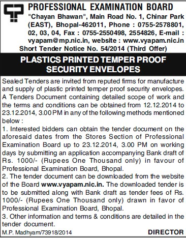 Supply of Plastic Printed temper proof security envelopes (MP Professional Examinational Board)
