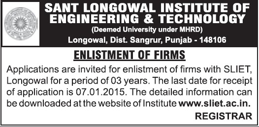 Enlistment of firms (Sant Longowal Institute of Engineering and Technology SLIET)