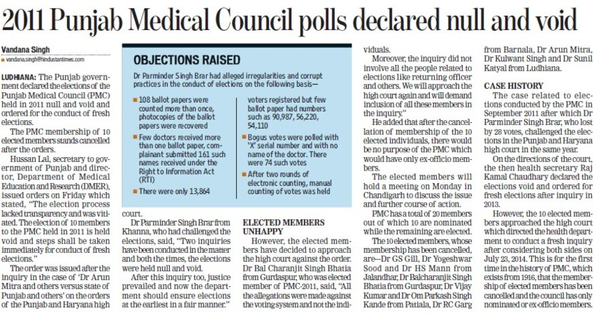 2011 PMC polls declared null and void (PUNJAB MEDICAL COUNCIL)