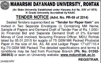 Supply of Sample papers (Maharshi Dayanand University)
