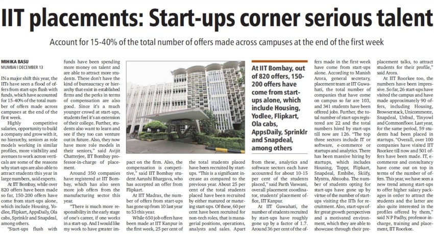 Start ups corner serious talent (Indian Institute of Technology (IITB))