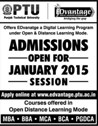 Admission open for January 2015 session (Punjab Technical University PTU)