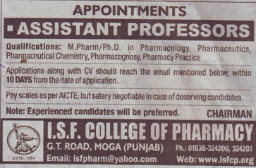 Asstt Professor for M Pharm (ISF College of Pharmacy)