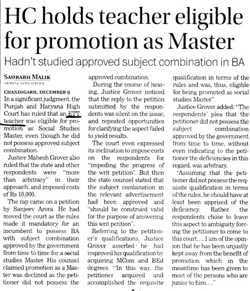 HC holds teacher eligible for promotion as Master (ETT Teachers Union Punjab)