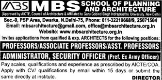 Administrator Officer (MBS School of Planning and Architecture)
