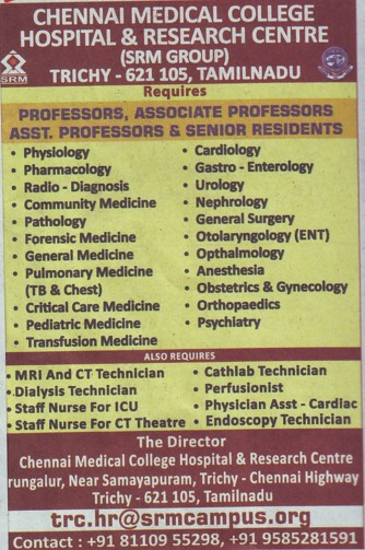 Senior Resident for Pathology (Chennai Medical College (formerly:Madras Medical College))