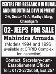 Jeeps for sale (Centre for Research in Rural and Industrial Development (CRRID))