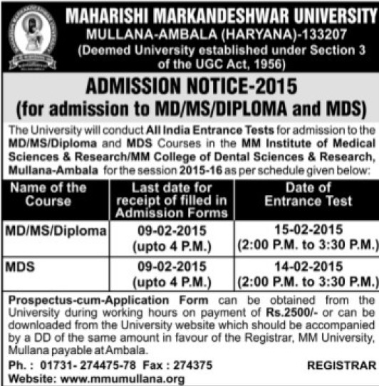 MD and MS Programme (Maharishi Markandeshwar University)