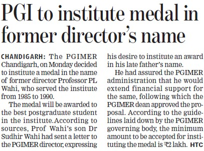 PGI to Institute medal in former directors name (Post-Graduate Institute of Medical Education and Research (PGIMER))