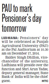 PAU to mark Pensioners day tomorrow (Punjab Agricultural University PAU)