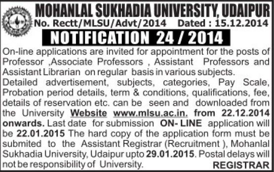 Asstt Professor and Librarian (Mohanlal Sukhadia University)