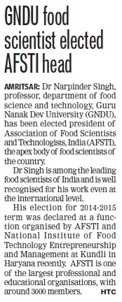 GNDU food scientist elected AFSTI head (Guru Nanak Dev University (GNDU))