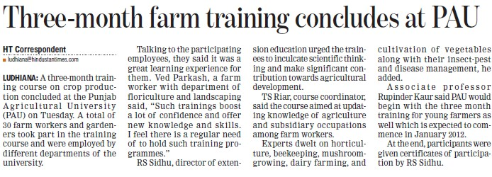 Three month farm training concludes at PAY (Punjab Agricultural University PAU)