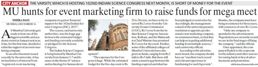 MU hunts for event marketing firm to raise funds for mega fest (University of Mumbai (UoM))