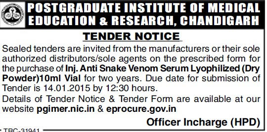 Supply of Anti Snake Venom Serum Lyophilized (Post-Graduate Institute of Medical Education and Research (PGIMER))