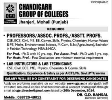 Asstt Professor and Lab Technician (Chandigarh Group of Colleges)