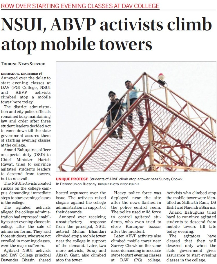NSUI, ABVP activist climb atop mobile tower (DAV PG College Karanpur)