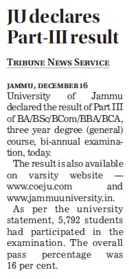 JU declares Part III result (Jammu University)