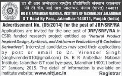 Junior Research Fellow (Dr BR Ambedkar National Institute of Technology (NIT))