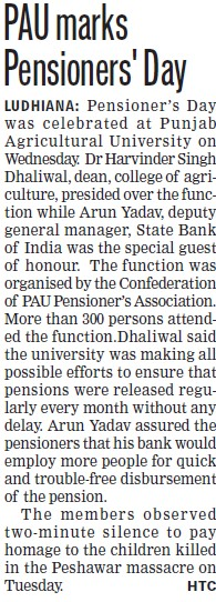 PAU marks Pensioners day (Punjab Agricultural University PAU)