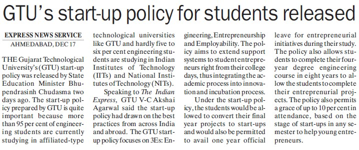 GTUs start up policy for students released (Gujarat Technological University)