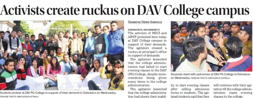 Activists create ruckus on DAV College campus (DAV PG College Karanpur)