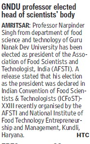 GNDU Professor elected head of Scientist body (Guru Nanak Dev University (GNDU))