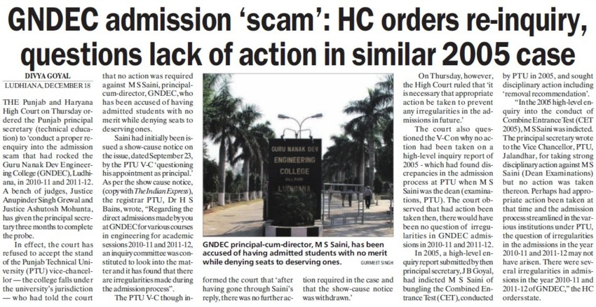 HC orders re inquiry, quest lack of action in similar 2005 case (Guru Nanak Dev Engineering College (GNDEC))