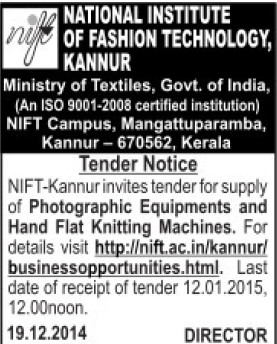 Supply of Photographic Equipments (National Institute of Fashion Technology (NIFT), Kannur)