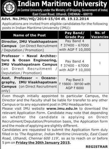 Asstt Professor for Oceanography (Indian Maritime University)