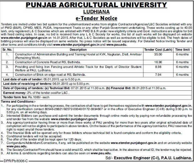 Construction of Administrative building (Punjab Agricultural University PAU)