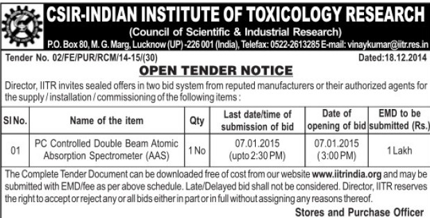 Supply of PC Controlled double beam AAs (CSIR India Institute of Toxicology Research)