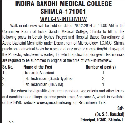 Research Assistant and Lab Technician (Indira Gandhi Medical College (IGMC))