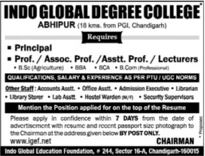 Asstt Professor and Lecturers (Indo Global Group of Colleges)