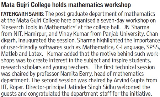 MGC holds mathematics workshop (Mata Gujri College)