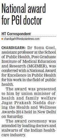 National award for PGI doctor (Post-Graduate Institute of Medical Education and Research (PGIMER))