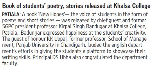 Book of students Poetry stories released (Khalsa College)
