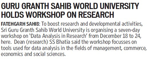 SGGSWU holds workshop on research (Sri Guru Granth Sahib World University)