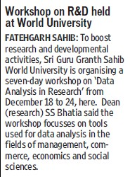 Workshop on R and D held (Sri Guru Granth Sahib World University)