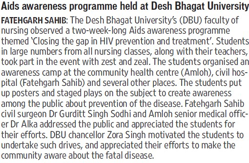 AIDS awareness Programme held (Desh Bhagat University)