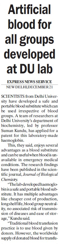 Artificial blood for all groups developed (Delhi University)