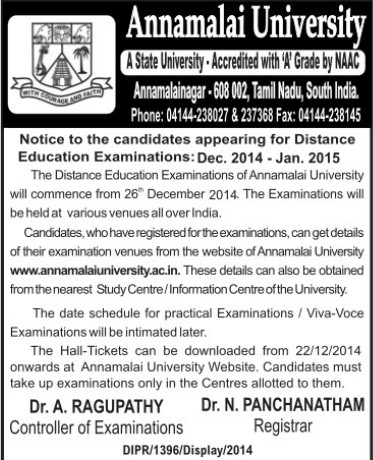 Distance Education Examinations 2014 (Annamalai University)