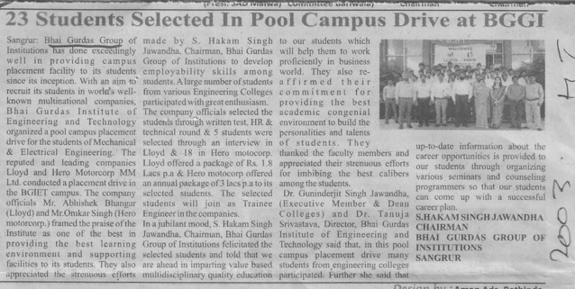 23 students selected for Pool campus drive (Bhai Gurdas Group of Institutions)