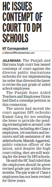 HC issues comtempt of Court to DPI Schools (DPI Schools Punjab)