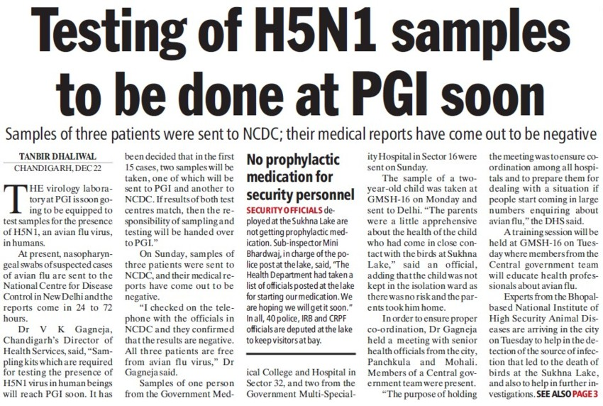 Testing of H5N1 samples to be done at PGI (Post-Graduate Institute of Medical Education and Research (PGIMER))