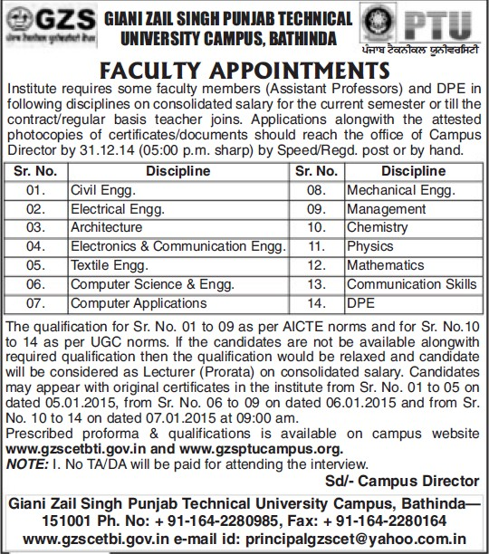 Asstt Professor for Architecture Engineering (Giani Zail Singh College Punjab Technical University (GZS PTU) Campus)
