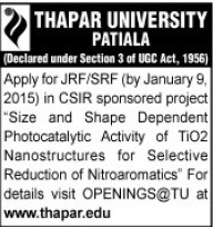 Junior Research Fellow (Thapar Institute of Engineering and Technology University)